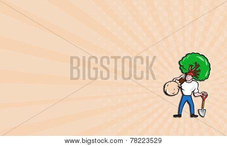 Business Card Gardener Arborist Carrying Tree Cartoon