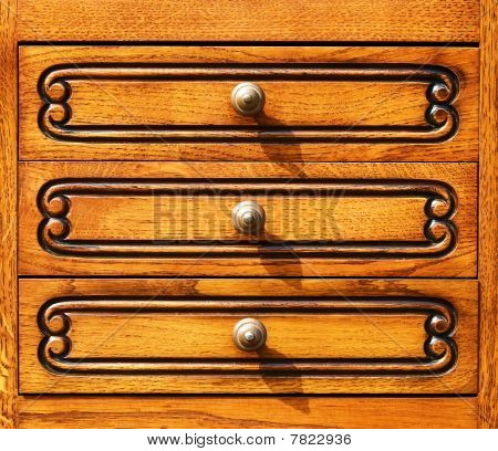 Fragment Of  Woodcarving Furniture In Retro Style.