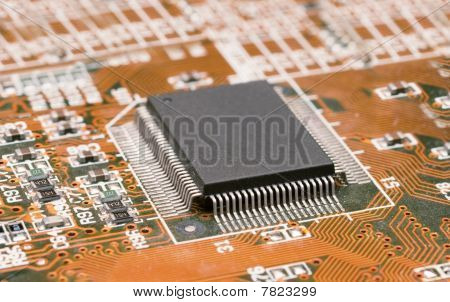 Closeup Of Computer Circuit Board With Chip Set