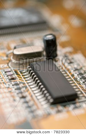 Computer Circuit Board With Micro Chip And Capacitor