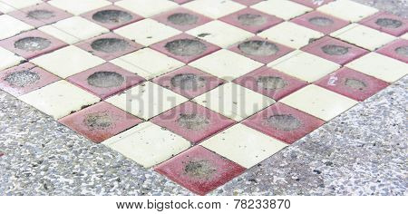 Checkers On A Marbel  Table