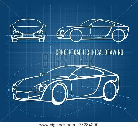 Concept car technical drawing showing front  side and offside orientations in a line drawing format on a blue background  vector illustration poster