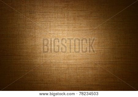 Yellow linen canvas texture - abstract background with copyspace gradient spot light