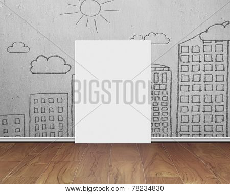 Blank Whiteboard With Doodles Wall On Wooden Floor