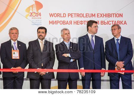 MOSCOW, RUSSIA, JUNE, 16: M. S. Al-Sada, President of the World Petroleum Council Renato Bertani, Russian Energy Minister Alexander Novak. 21st WPC, June, 16, 2014 at Crocus Expo  in Moscow, Russia