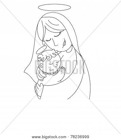 Nativity coloring vector