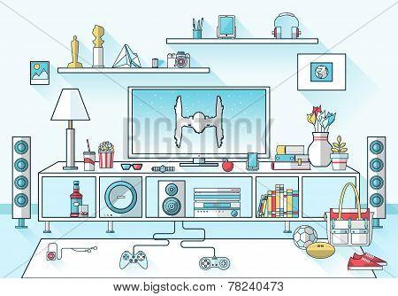 Creative Living Room Flat Modern Design