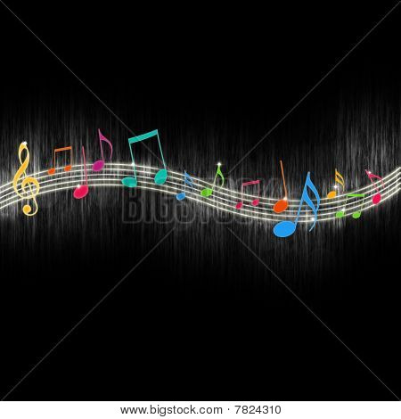 Colorful music notes on a black background poster