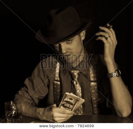 Man Playing Card Game