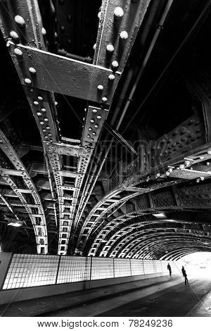 Construction Seen From Underneath Of The  Construction Of A Bridge