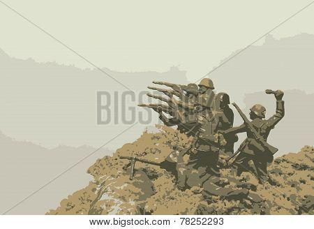 Soldiers in battlefield