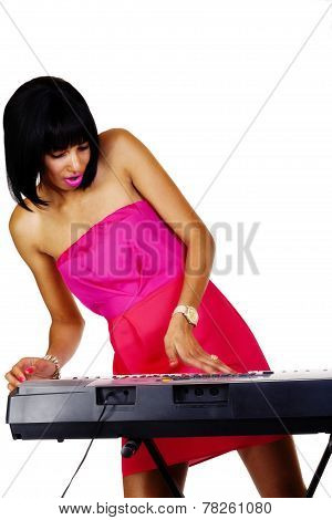 Skinny Light Skinned Black Woman At Piano