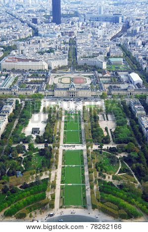 Champ de Mars and Ecole militaire view from Eiffel tower in Paris
