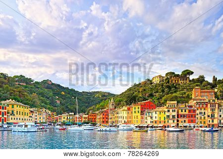 Portofino luxury landmark panorama. Village and yacht in little bay harbor. Liguria Italy poster