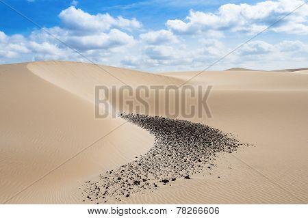 Sand dunes in Viana desert - Deserto de Viana in Boavista - Cape Verde - Cabo Verde poster