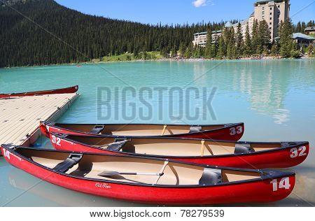 Canoes on beautiful turquoise Lake Louise