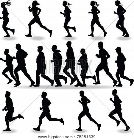 group of seventeen runners outdoor silhouette vector poster