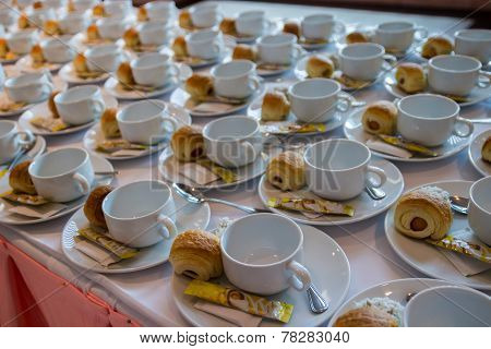 many empty cup on saucer with spoon non-dairy creamer and sugar for coffee break poster