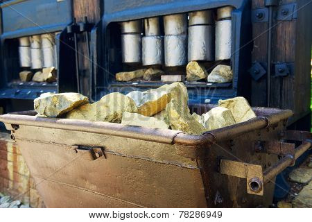 Trolley with gold ore