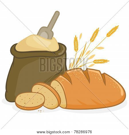 Flour sack and bread