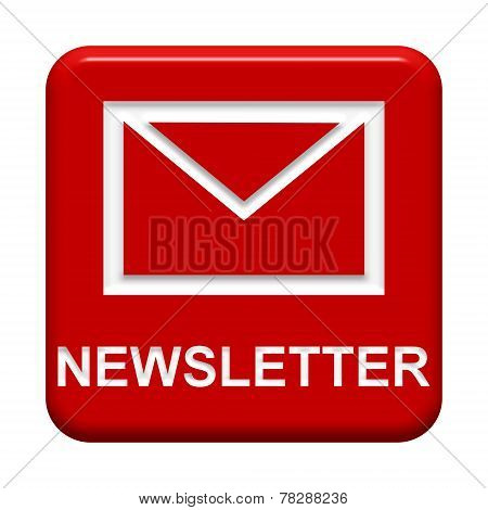Isolated red Button with Mail icon: Newsletter poster