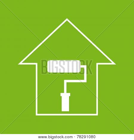 House With Paddle Roller. White On Green