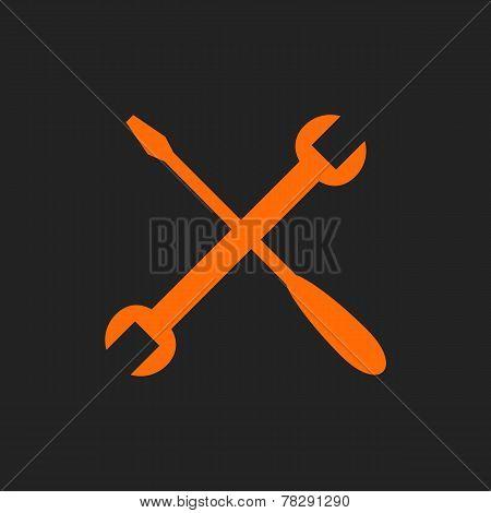 Orange crossed tools on black