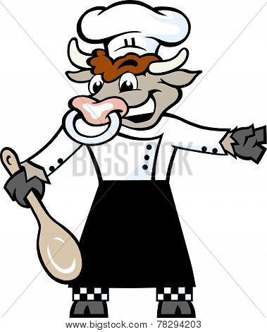 Hand-drawn Vector Illustration Of An Happy Bull Chef Standing And Welcome With A Spoon In His Hove