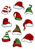 Clown, joker and Santa Claus cartoon hats set isolated on white for seasonal or comics design poster