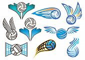 Volleyball balls design elements for sport emblem, logo or badge with winged and  flying volleyball balls poster
