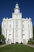 Majestic view of the front of the St. George LDS (Mormon) Temple poster