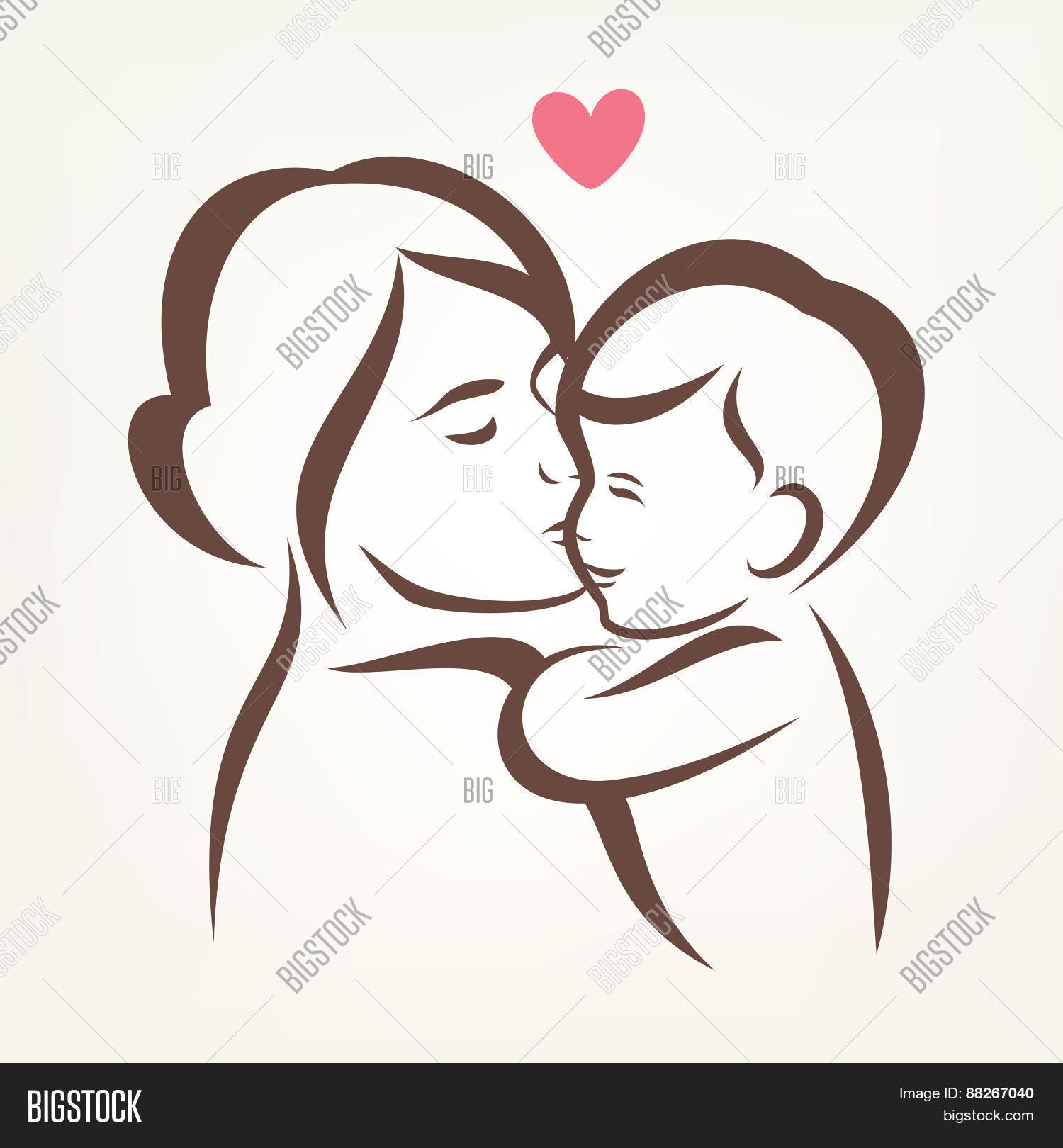 Love The Mother Child Silhouette: Mother Son Stylized Vector & Photo (Free Trial)