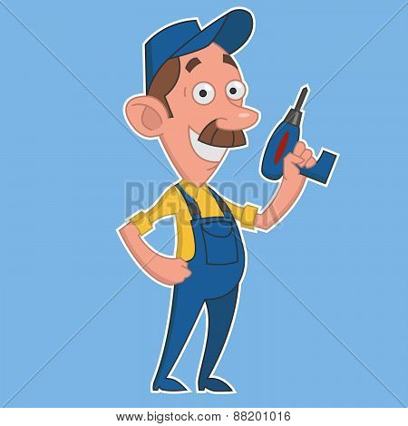 Worker with screwdriver.