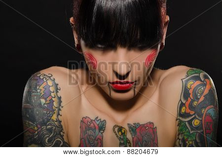 Portrait Of Beautiful Tattooed Women