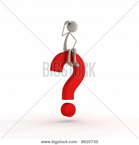 Figure sitting on question mark