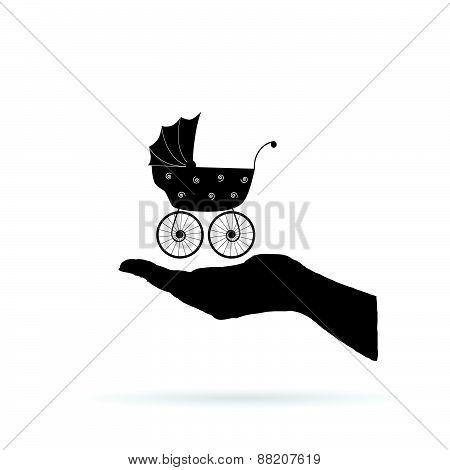 Baby Stroller In Hand Black Vector