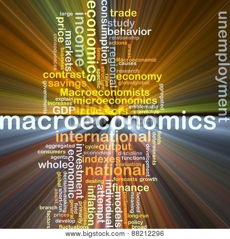 Background text pattern concept wordcloud illustration of macroeconomics glowing light