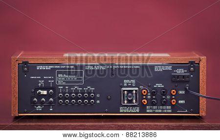 Vintage Stereo Radio Receiver Rear Panel