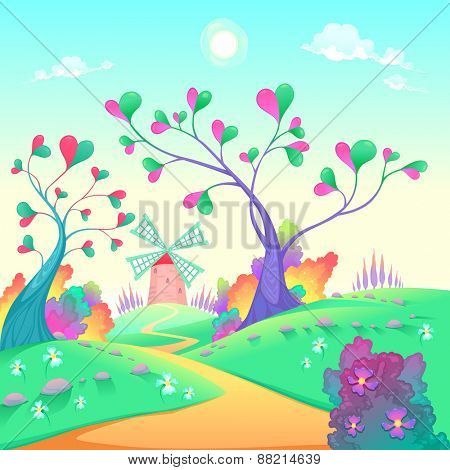 Springy landscape with windmill. Funny cartoon and vector illustration.