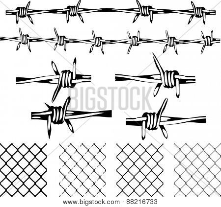 Barbed Wire Elements -  Isolated and transparent repeating vectors.