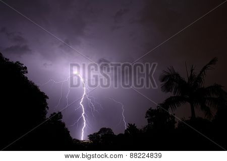 Thunderbolt of lightning at night during a thunderstorm
