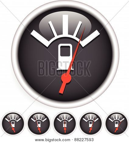 Fuel, Gas Meter Vector Elements With Red Pointers