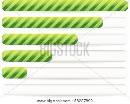 Progress, Loading Bars With Striped Texture. Vectors.
