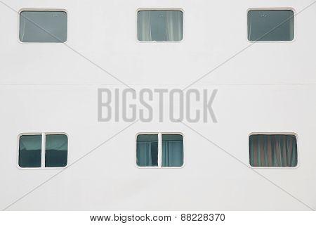 Cabin Windows Of Cruise Ship