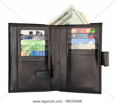 Black Natural Leather Wallet Isolated On White Background