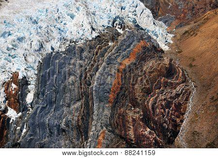 Abstract glacier image in Cordiliera Huayhuash, Peru, South America