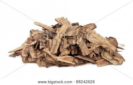 Costus root used in chinese herbal medicine over white background. Mu xiang.   poster