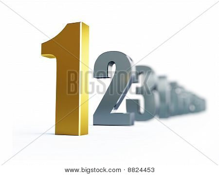 number 1 isolated on a white background poster