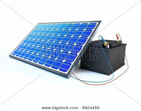 Solar-Panel lädt die Batterie
