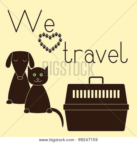 Dog, Cat And Pet Carrier